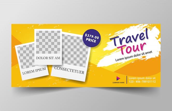 Plantilla de banner de viaje amarillo