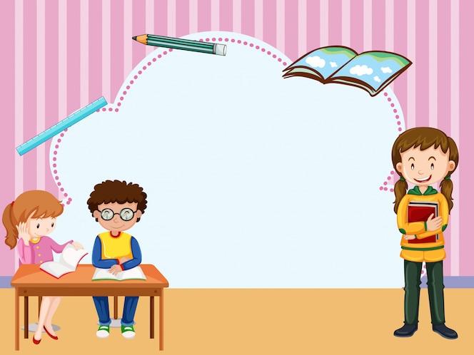 Plantilla de borde con niños aprendiendo en el aula