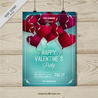 Plantilla de cartel del día de san valentín con globos rojos
