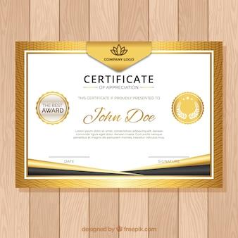 Plantilla de certificado con color dorado