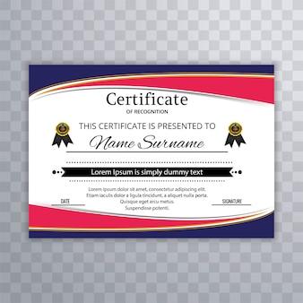 Plantilla de certificado ondulado colorido elegante