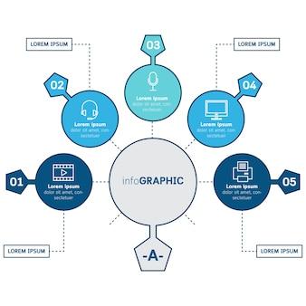 Plantilla de círculo de vector infografía con iconos.