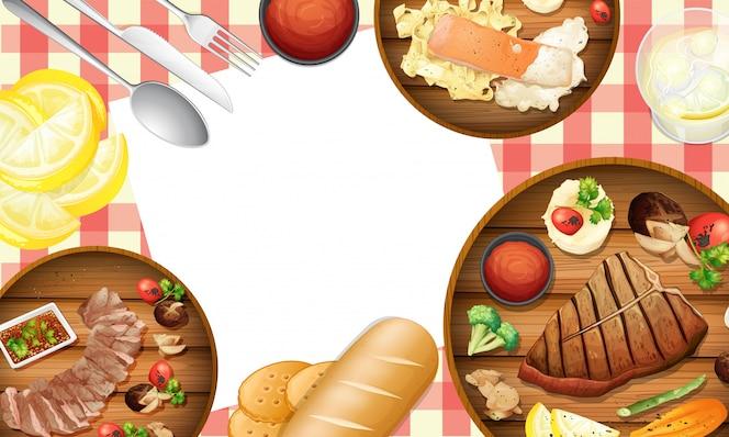Plantilla de comida saludable en la mesa