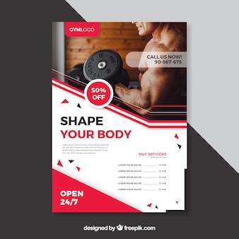 Plantilla de cover de fitness con imagen