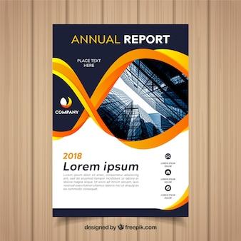 Plantilla de cover de reporte anual con imagen