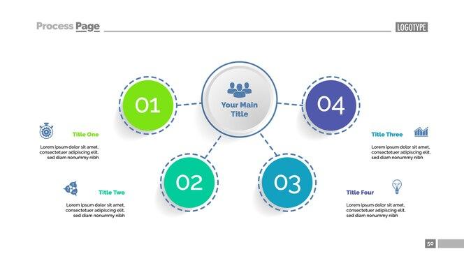 Plantilla de diagrama de flujo de cuatro elementos. datos comerciales
