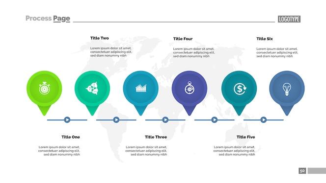 Plantilla de diagrama de seis puntos principales. datos comerciales gráfico, tabla