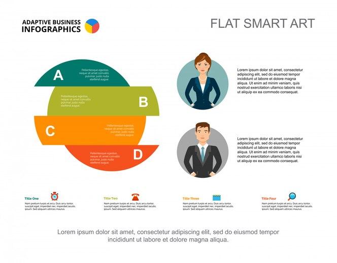 Plantilla de diapositiva de círculo de cuatro áreas. presentación gráfica con diagrama de opción