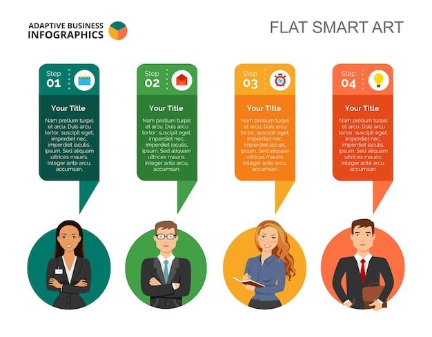 Plantilla de diapositiva de cuatro pasos diagram
