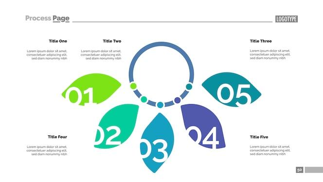 Plantilla de diapositiva de diagrama de cinco pétalos. datos comerciales gráfico, tabla