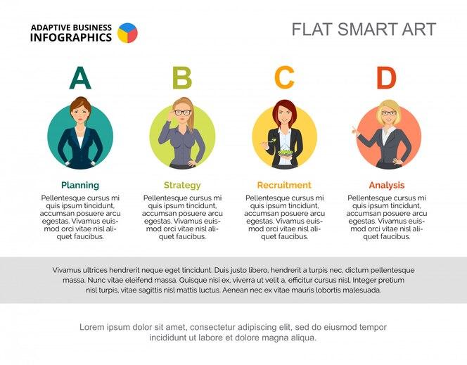Plantilla de diapositiva de los departamentos de la compañía gráfico. concepto creativo para infografía, informe.
