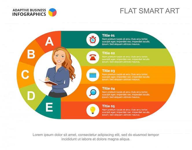 Plantilla de diapositiva de proceso de negocio. gráfico. concepto creativo para infografía, informe.
