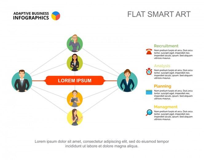 Plantilla de diapositiva de relación comercial. gráfico. concepto creativo para infografía, informe.
