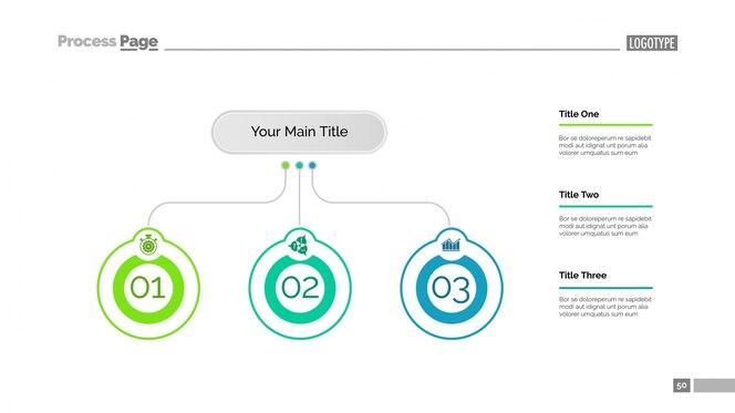 Plantilla de diapositiva de tres ideas de negocios