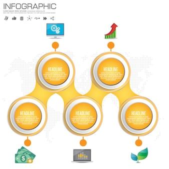 Plantilla de diseño de infografías con paso