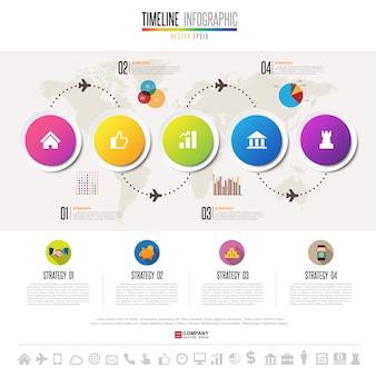 Plantilla de diseño de infografías timeline