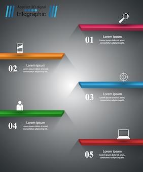 Plantilla de diseño infográfico 3d y los iconos de marketing