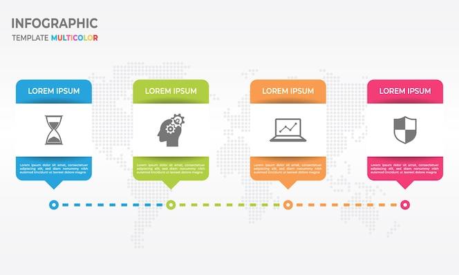 Plantilla de diseño infográfico timeline con 4 opciones