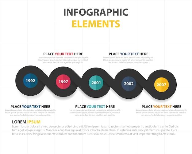 Plantilla de elementos circulares infográficos