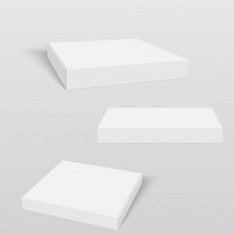 Plantilla de embalaje de caja de pizza blanca.