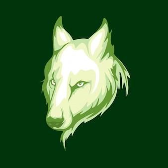 Plantilla de emblema de logotipo de cara de lobo vintage
