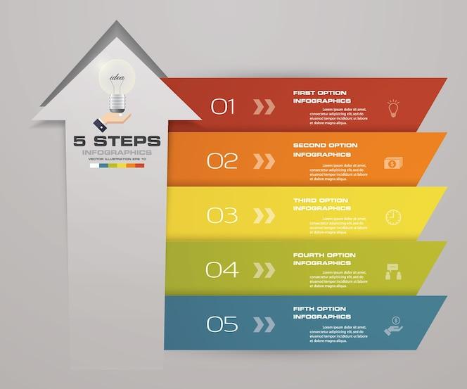 Plantilla de flecha de 5 pasos para la presentación del negocio.