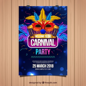 Plantilla de flyer elegante azul oscuro para carnaval