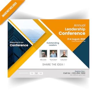 Plantilla de flyer horizontal de conferance anual