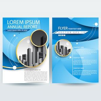 Plantilla de folleto comercial con formas de curva azul