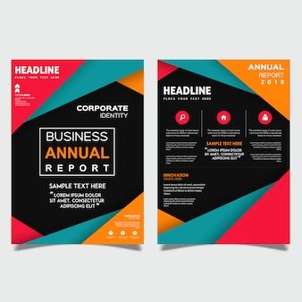 Plantilla de folleto comercial de informe anual de vector