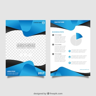Plantilla de folleto con formas abstractas azules