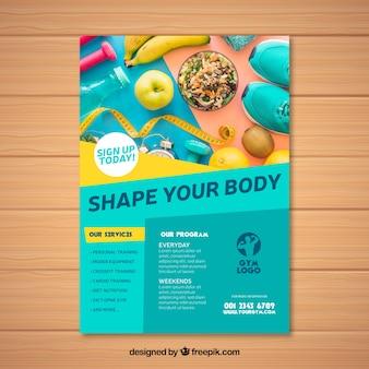 Plantilla de folleto de gimnasio con estilo moderno