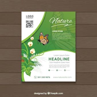 Plantilla de folleto de naturaleza dibujada a mano
