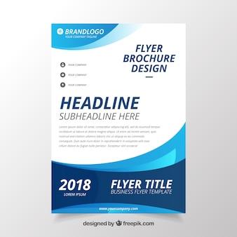 Plantilla de folleto de negocios moderno ondulado