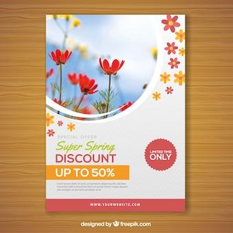 Plantilla de folleto de primavera con foto