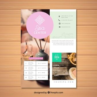Plantilla de folleto de spa con foto