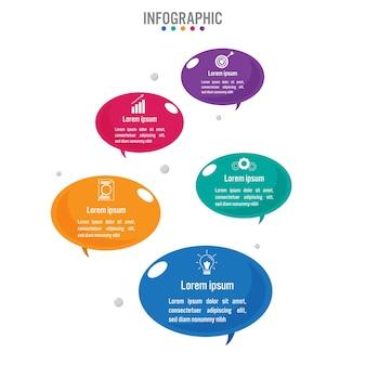 Plantilla de forma de burbuja de negocios infografía