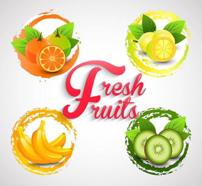 Plantilla de frutas frescas
