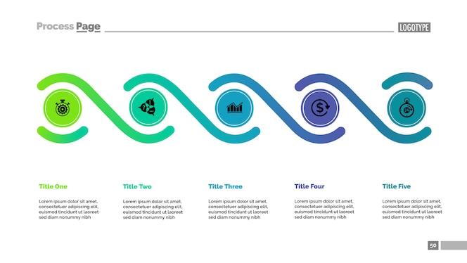 Plantilla de gráfico de proceso de cinco elementos. datos comerciales