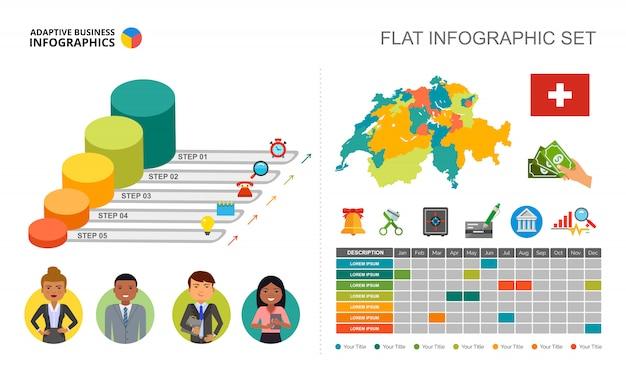 Plantilla de gráfico de proceso de cinco pasos para la presentación