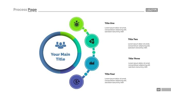 Plantilla de gráfico de proceso de enfoque empresarial cuatro opciones.