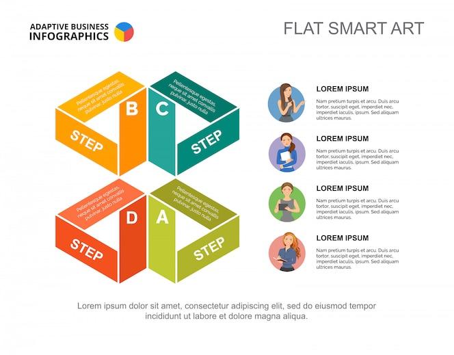 Plantilla de gráfico de proceso de estrategia de cuatro pasos para la presentación. datos comerciales