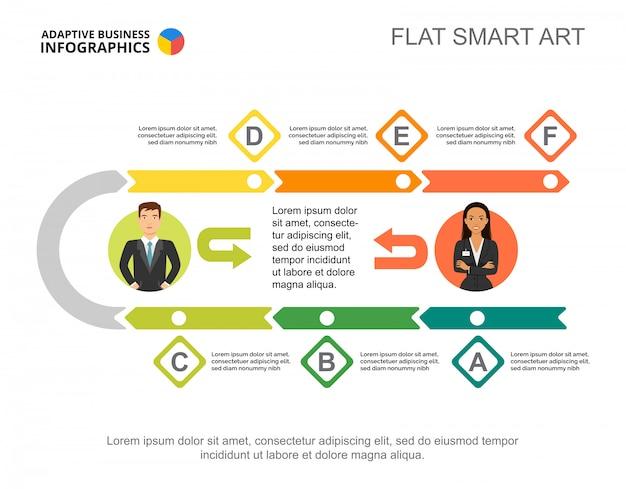 Plantilla de gráfico de proceso de flujo de trabajo de seis pasos para la presentación