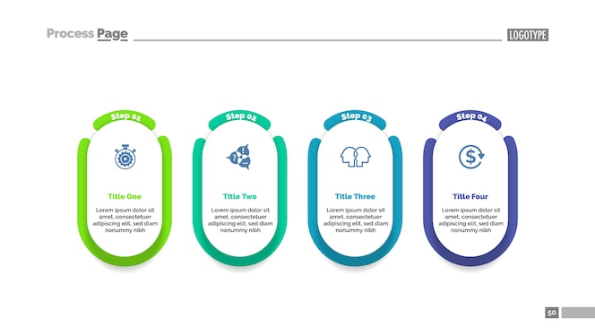 Plantilla de gráfico de proceso de proyecto de cuatro pasos para la presentación.