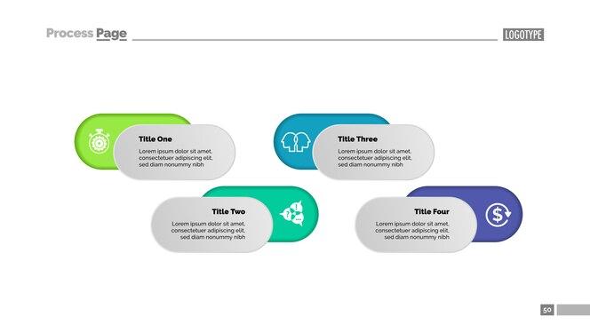 Plantilla de gráfico de proceso de solución de cuatro opciones para la presentación. datos comerciales