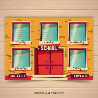 Plantilla de horario de colegio con diseño plano