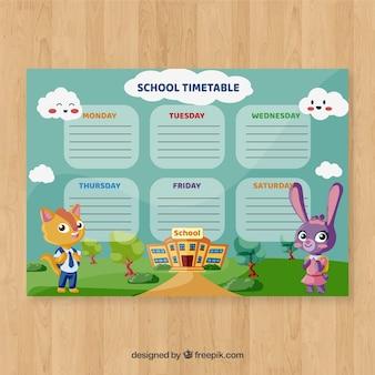 Plantilla de horario de colegio con personajes de dibujos animados