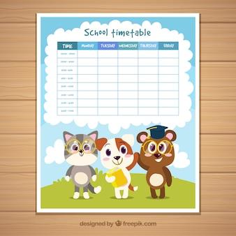 Plantilla de horario escolar con animales adorables