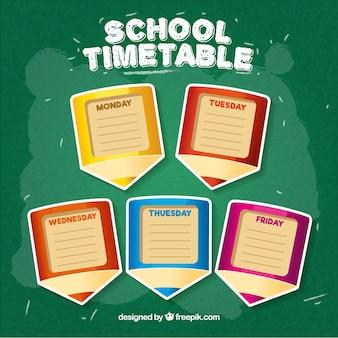Plantilla de horario escolar con diseño plano