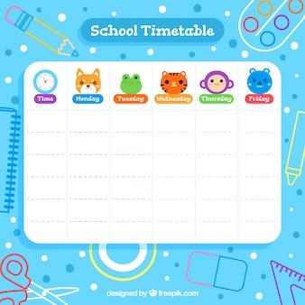 Plantilla de horario escolar con estilo de dibujos animados